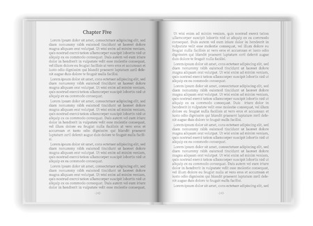 Opened blank book with white paper page design template with text sample background