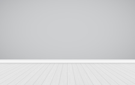 Clean interior template, empty gray wall with wooden floor background Ilustração