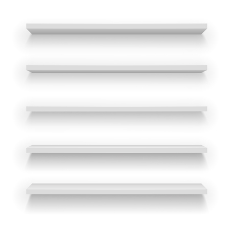 Set of vector Light Wood or plastic Shelves with difference view angle on white background