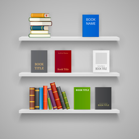 Set of vector White Shelves with Example Books on white background