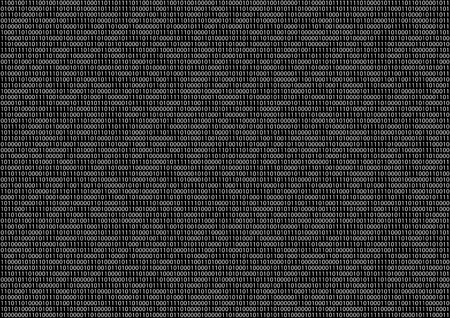 Sheet of flat binary code program screen on black vector background