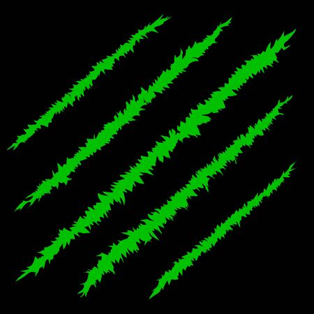 Green bloody claw scratches vector illustration EPS8 set