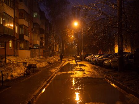Winter and fall city depressive view with wet street after rain Zdjęcie Seryjne