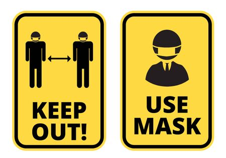 Covid-19 Keep Safe Distance and Use Mask sign vector set