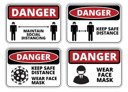 Covid-19 Keep Safe Distance warning sign. Danger of coronavirus, caution poster. Disease prevention safety sign vector set