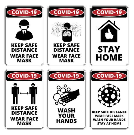 Covid-19 Danger Signs Set Illustration