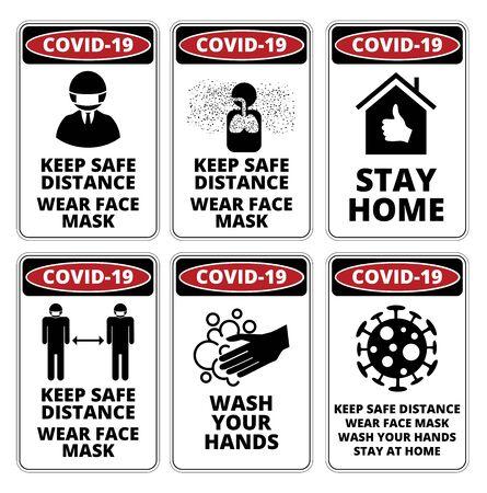 Ensemble de signes de danger Covid-19 Vecteurs