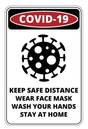 Covid-19 Danger Signs Set Illustration