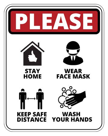 Warning of Covid-19 icons. Keep Safe Distance, Wash your Hands and Use Face Mask Danger Sign Vector Set
