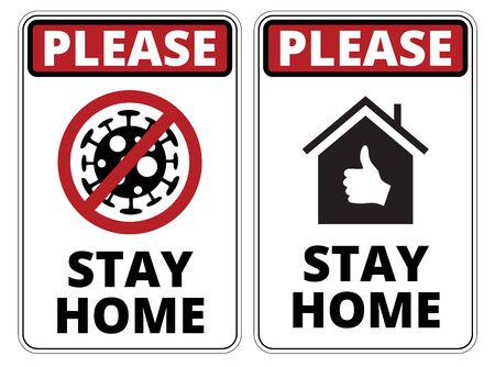 Warning of Covid-19 icons. Stay Home Danger Sign Vector Set