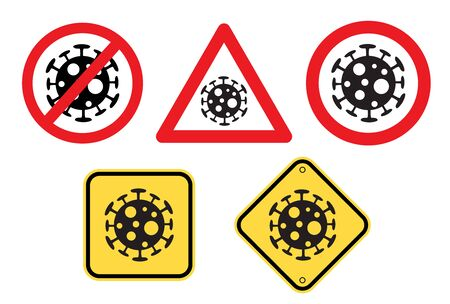 Warning of Covid-19 sign vector set, Stay home danger warnings 向量圖像
