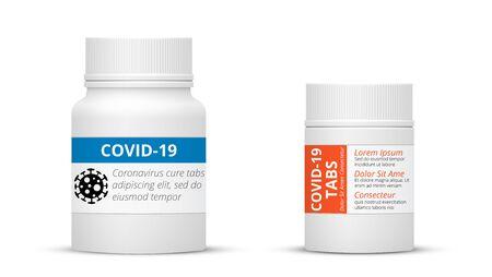 Píldoras COVID-19, botella de medicamentos contra el coronavirus y conjunto de vectores de píldoras de vacuna covid19