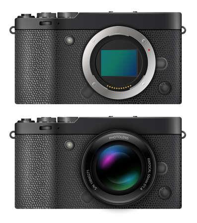 Mirrorless compact camera Ilustración de vector