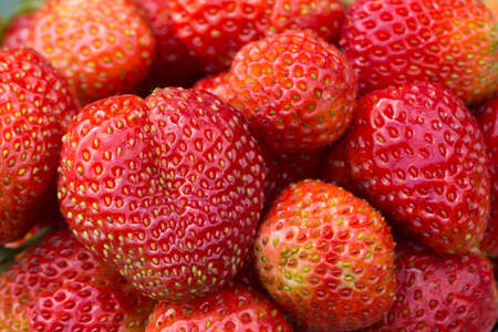 Background from freshly ripe red strawberries. Closeup berry 스톡 콘텐츠