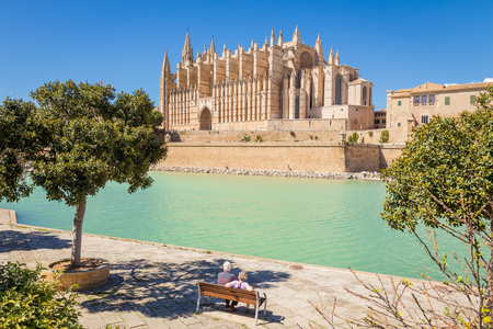 Senior couple having rest at the park near the main cathedral of Palma de Mallorcad 스톡 콘텐츠