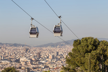 Cable car between coast and Montjuic hill, Barcelona, Spain Stock Photo