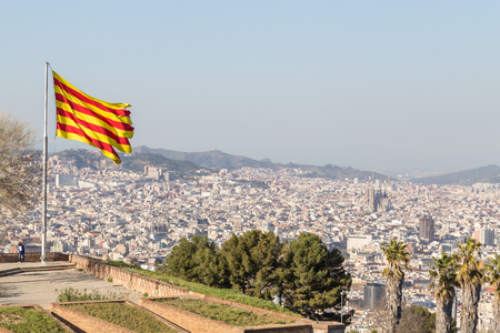 View of Barcelona city from Montjuic mountain Stock Photo