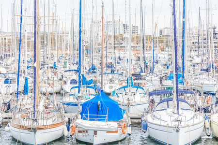 moored yachts in Barcelona, Spain Stock Photo