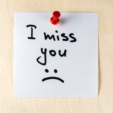 I miss you note on paper post it