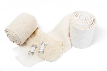 Elastic bandages on a white background 스톡 콘텐츠