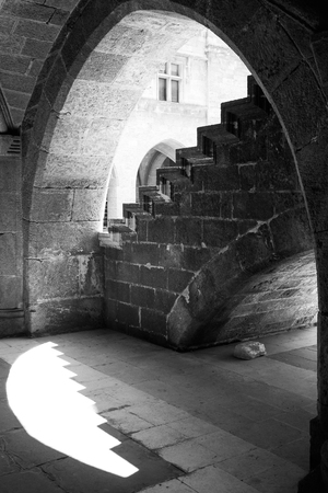 Black and white architectural detail of  a medieval building