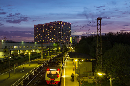 8 MAY 2015. Moscow, Russia: Night view of  the train standing at the railway station Grazhdanskaya