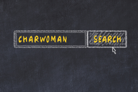 Chalk board sketch of search engine. Concept of searching for charwoman Zdjęcie Seryjne