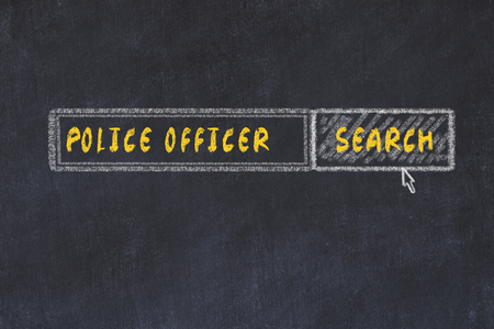 Chalk board sketch of search engine. Concept of searching for police officer Stockfoto