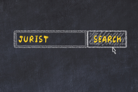 Chalk board sketch of search engine. Concept of searching for jurist Stock Photo
