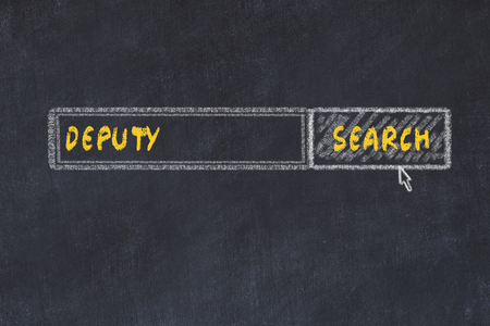 Chalk board sketch of search engine. Concept of searching for deputy Stock Photo
