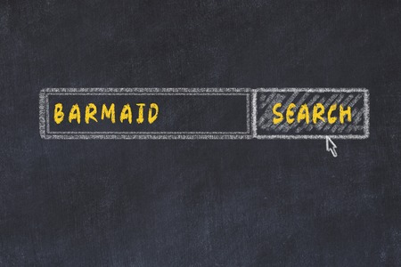 Chalk board sketch of search engine. Concept of searching for barmaid