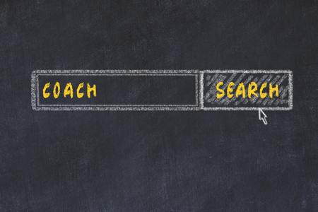 Chalk board sketch of search engine. Concept of searching for coach