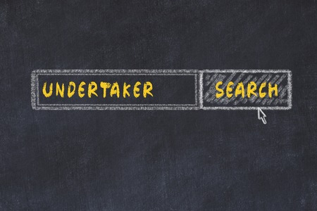 Chalk board sketch of search engine. Concept of searching for undertaker Stock Photo