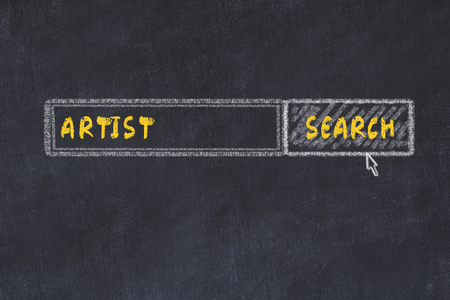 Chalk board sketch of search engine. Concept of searching for artist