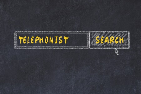 Chalk board sketch of search engine. Concept of searching for telephonist