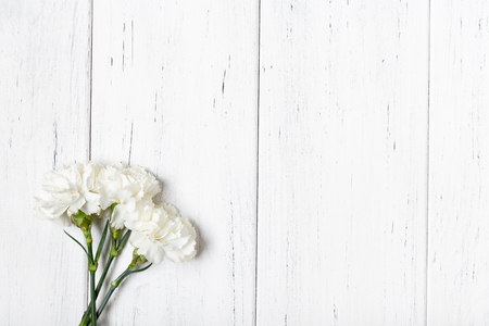White carnations on wooden table backgeound with copy space