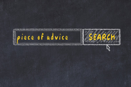 Chalk board sketch of search engine. Concept of looking for piece of advice