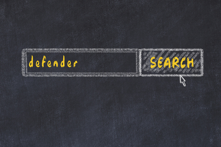 Chalk board sketch of search engine. Concept of looking for defender