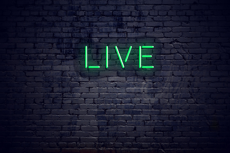 Brick wall at night with neon sign live.