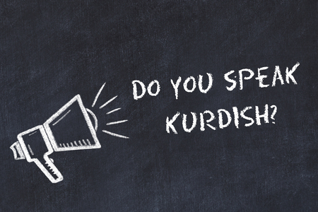 Learning foreign languages concept. Chalk symbol of loudspeaker with phrase do you speak kurdish. Stok Fotoğraf