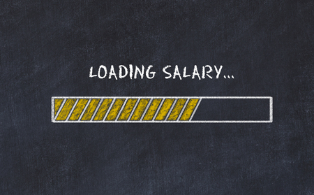 Chalk board sketch with progress bar and inscription loading salary.