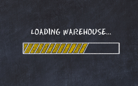 Chalk board sketch with progress bar and inscription loading warehouse.