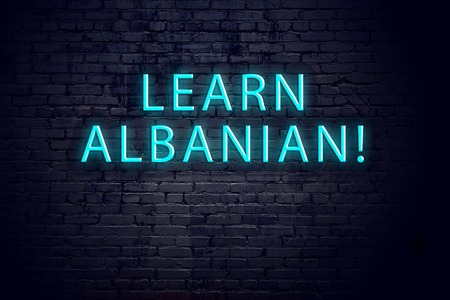 Brick wall and neon sign with inscription. Concept of learning albanian.