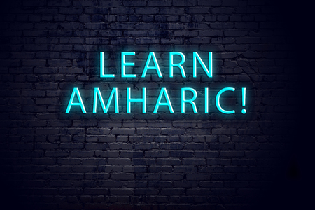 Brick wall and neon sign with inscription. Concept of learning amharic.
