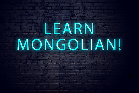 Brick wall and neon sign with inscription. Concept of learning mongolian.