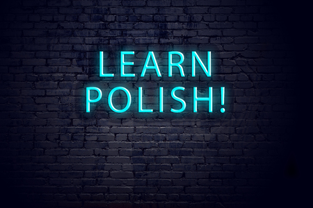 Brick wall and neon sign with inscription. Concept of learning polish.