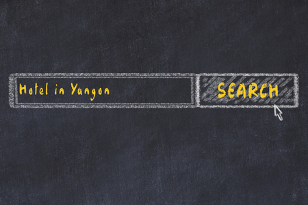 Chalk sketch of search engine. Concept of searching and booking a hotel in Yangon.
