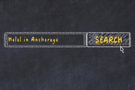 Chalk sketch of search engine. Concept of searching and booking a hotel in Anchorage.