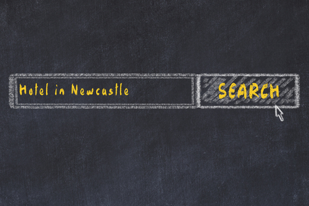 Chalk sketch of search engine. Concept of searching and booking a hotel in Newcastle. Stock Photo