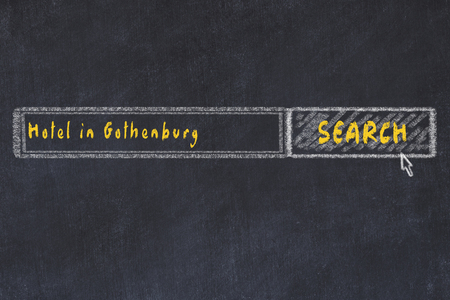 Chalk sketch of search engine. Concept of searching and booking a hotel in Gothenburg.